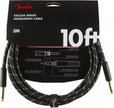 FENDER Deluxe Series Instrument Cable, Straight/Straight, 10', Black Tweed Oulu