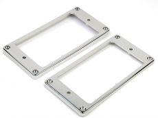Humbucking Pickup Rings Slanted Chrome Set