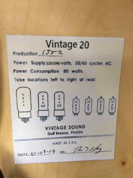 VINTAGE SOUND AMPS VINTAGE 20