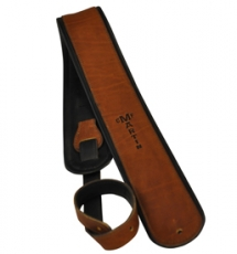 Premium Rolled Leather guitar strap - Brown